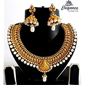South Indian one gram gold pearl bridal jewelry set