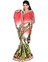 Shree Bahuchar Creation Women's Chiffon Saree(Skb15, Pink and Green)
