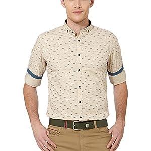 Van Heusen Men's Slim Fit Cotton Shirt [14565_Khaki_42]