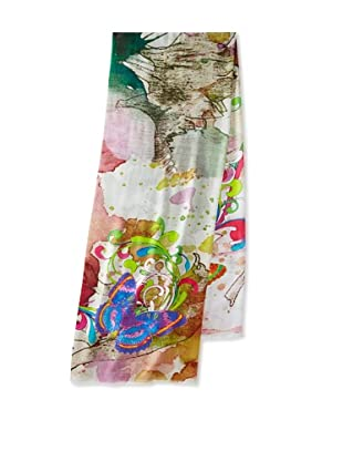 Saachi Women's Butterfly Garden Digital Print Scarf, Green Multi