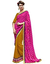 Indian Women Viscose Jacquard And Georgette Pink And Yellow Half & Half Saree