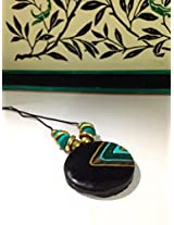 Shades of green round pendant chain with green silk beads