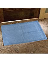 Avira Home 900 GSM Greek Design Terry Mat-Bathmat-Floor Mat-Door Mat-100% Cotton-Teal Blue