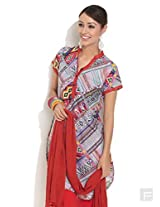 Abstract Print Kurti With Curved Hem-Red-L