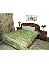 Amita's Home Furnishing Green Color Floral Design Double Bed Dohar Cum Duvet Cover