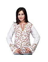 Ghasitaram White and Red Kashmiri Embroidered Kurti