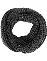 Winter Warm Knitted Large-Weave Infinity Scarf in Lightly Sequined Yarn, DGrey