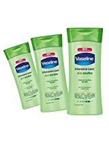(3 Pack) Vaseline Intensive Care Lotion, Dry Skin, Aloe Soothe, 13 oz.ea.