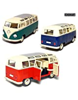 """Set of 3: 6œ"""" 1962 Volkswagen Classic Bus 1:24 Scale (Blue/Green/Red)"""