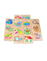 28 Pieces Wooden Dominoes & Puzzles Playing Set for Kids Children Domino Blocks Intelligence Toys Learn toys