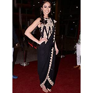 Bollywood Replica Black & Peach Party/Wedding Wear Saree