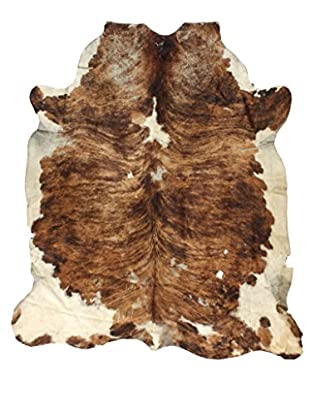 Jersey-Style Cowhide Rug, Brown/Tan/Cream, 7' x 6' 3