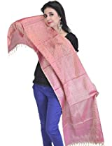 Exotic India Womens Silk Scarves ,Misty Rose ,Free Size