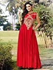 Stylus Red Party Wear Semi Stitched Long Gown