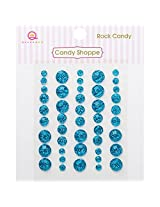 Queen & Co Candy Shoppe Self-Adhesive Rock Candy Dots Embellishments, 4, 6 and 8mm, Turquoise