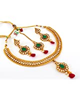 Megh Craft Women's Traditional Polki One Gram Gold Plated Necklace Set
