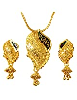 DollsofIndia Gold Plated Chain with Pendant and Earrings - Metal - Golden