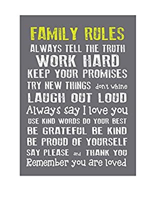 Little Nice Things Wandbild Family Rules grau