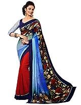 Sapphire Fashions Women's Blue Georgette Saree