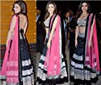 Alia Bhatt Net Embroidered Black Bollywood Style Lehenga Saree