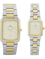 Titan Bandhan Analog Watch - For Couple Silver Gold - 19552955BM02