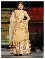 Bollywood Replica Gauhar Khan Golden Designer Lehenga Choli
