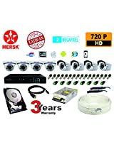 8CH HD DVR MERSK+4 PCS 6 ARRY MERSK DOME 2 MEGAPIXEL AND 4 PCS 2 ARRY MERSK BULLET 2 MEAPIXEL CAMERA with all required connectors and power supply AND 1TB HDD FREE HDMI CABLE