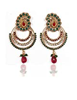 Sunehri Ruby Emerald Three Layer Earrings for Women