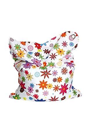 Sitting Bull Cojín Puff Niño Fashion Mini Bull Flower Girl Blanco/Multicolor