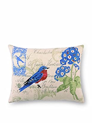 """Kathryn White Bluebird and Geranium Pillow, Blue/Green, 14"""" x 18"""""""