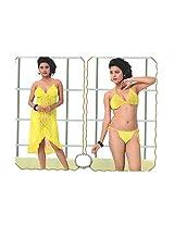 Indiatrendzs Women's Sexy Hot Nighty Yellow 3pc Set Honeymoon Nightwear Freesize