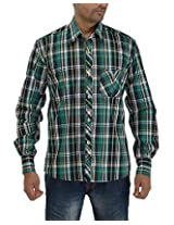 Maxx Shirts Men's Slim Fit Shirt (MX023, Green and Black, 42)