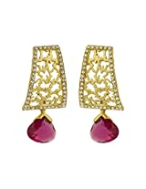 Rajwada Arts Super Stylish Contemporary Design Dangle Earring with Pink Stone and American Diamond For Women