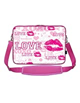 Meffort Inc 17 17.3 Inch Pink Color Matching Neoprene Laptop Carrying Sleeve Bag with Hidden Handle and Shoulder Strap - Love Heart