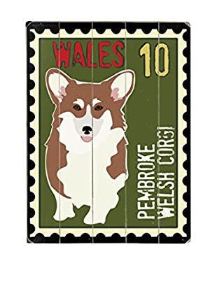 Artehouse Welsh Corgi Postage Stamp Wood Wall Décor (Green/Brown)