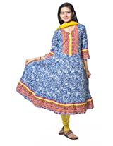 Blue Cotton Anarkali Suit