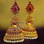 Broad Grand Temple Kempu Gold Design Ruby Beads Hangings Dulhan Jhumka Buy Online