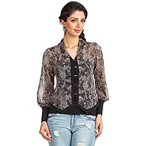 Zovi Printed with Placket Women's Top - Black