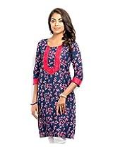Almas Women's Cotton Regular Fit Kurti (ALM-KUR-400105_XL, Navy Blue, X-Large)