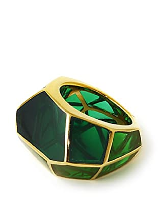 Isharya 18K Gold Plated Emerald Louvre Resin Ring