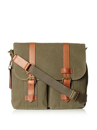 Bosca Men's Correspondent Two-Pocket Mail Bag (Chestnut/Olive)