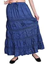 Exotic India Elastic Skirt with Sequins and Crochet Border - Color Coastal FjordGarment Size Free Size