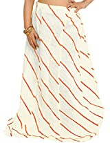 Exotic India Long Ghagra Anchor Skirt with Stitched Ribbons - Color PapyrusGarment Size Free Size
