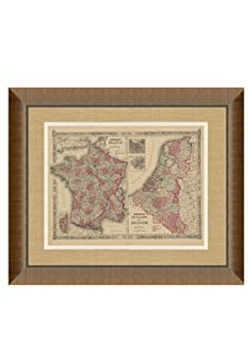"""Johnson and Ward Antique Map of France, Holland & Belgium, 1860's, 28"""" x 34"""""""