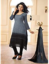 Alluring Grey and Black Karachhi Salwar Suit