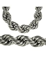 Heavy 25MM Silver Tone Thick Hollow Rope 36 Inch Long Necklace Hip Hop Dookie Bling Chain