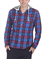 Zobello Men's Detatchable Quilt Hoodie Flannel Shirt(11074C_Royal Blue/Red Windowpane Check_XX-Large)