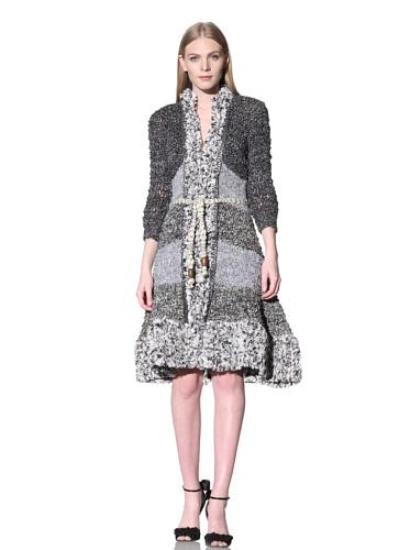 Byron Lars Women's Artisan Handknit Sweater Jacket (Black/White)