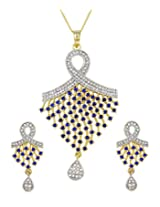Exxotic Designer Fahion Valentine Day Special Stylish CZ Pendant With Earring Set For Girls & Women (Blue)