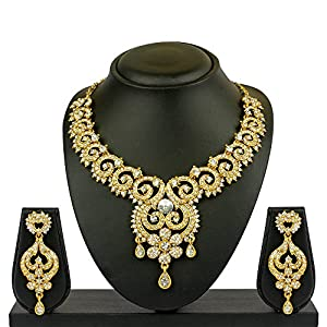 VK Jewels Three Drops Gold Plated Necklace with Earrings- NKZ1046G